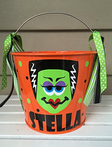 Personalized 5 quart Halloween pail- Frankenstein's bride design -