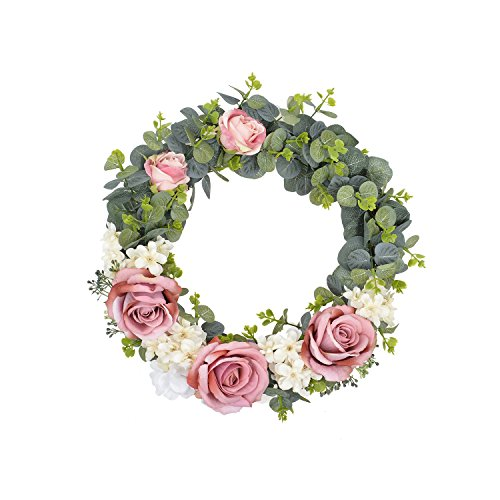 FAVOWREATH 2018 Romantic Series FAVO-W70 Handmade 14 inch Pink Roses,Hydrangea,Leaf Grapevine Wreath For Summer/Fall Festival Front Door/Wall/Fireplace Wedding Floral Hanger Home Natural Decor by FAVOWREATH