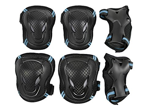 Teens Knee Elbow Wrist Braces Pads Set Reflective Adjustable Collision Avoidance Skate Roller Blading Skateboarding Biking Knee Braces Support Elbow Pads Wrist Guards Protector Kneepad