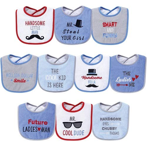 Hudson Baby Baby Drooler Bib 10 Pack-Handsome Eyes, One Size