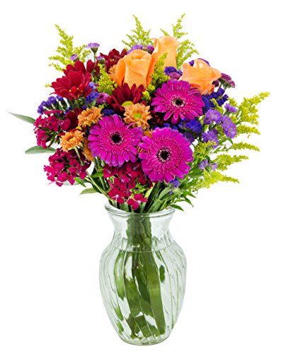Vibrant Blossoms Mixed Bouquet with Free Vase Included -