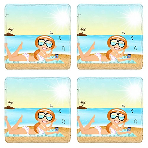 [MSD Square Coasters Image ID 27428180 girl with headphone music on the beach] (Ms Swimming Costume)
