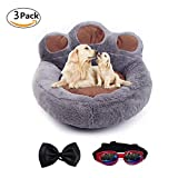 Be Good Pet Bed Anti-Slip Bottom Cute Paw Shaped Dog Sofa Bed with Soft and Cozy Plush Portable Dog Mattress for Small Medium Dogs Cats Puppies with Bow Tie and Sunglasses S/M/L Grey/Pink/Brown