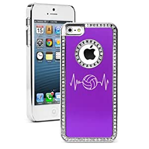 """Apple iPhone 6 (4.7"""") Rhinestone Crystal Bling Hard Case Cover Heart Beats Volleyball (Purple)"""