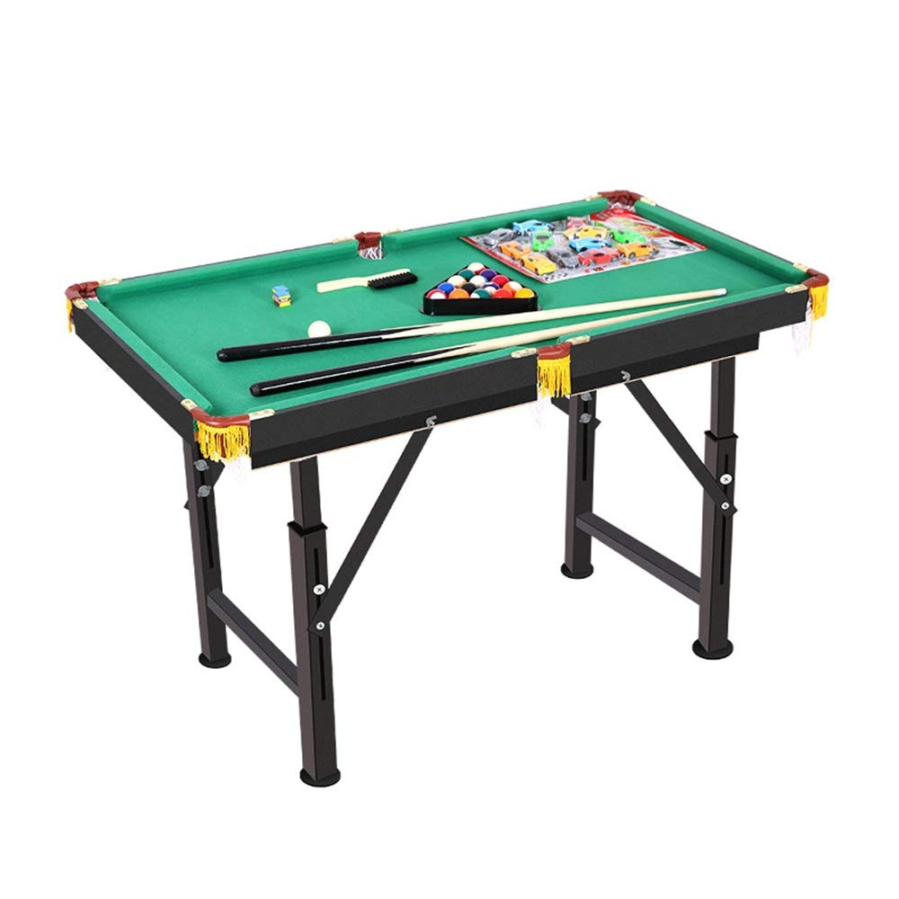 TAESOUW-Sports Portable Pool Table for Families with Easy Folding for Storage Includes Balls Cues Chalk (Color : Green, Size : 120x63x59-85cm) by TAESOUW-Sports