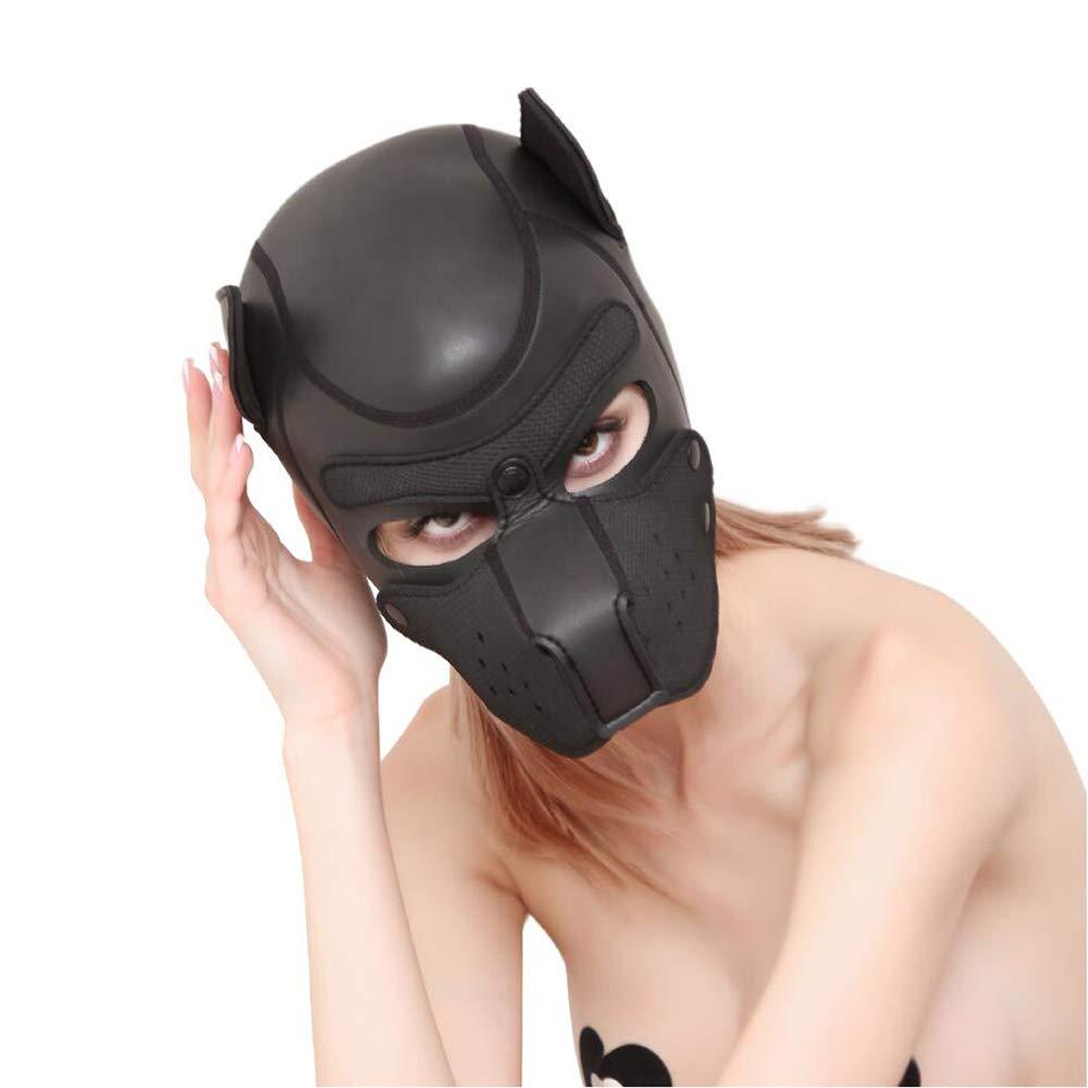 Máscara de fibra de cuero para perros Gimp, unisex, estilo de capucha, rostro completo, capucha unisex, Gimp, casco de PU - Negro 3dc807
