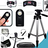 """Durable Full Size 60"""" inch TRIPOD + Universal Camera REMOTE Control KIT for Canon EOS 70D 60D 7D 6D 5D 5DS, 5DS R, EOS Rebel T6i T6S T5i T4i T3i T2i SL1 7D Mark II 8000D 760D 750D 700D 650D 600D 550D 1200D 1100D 100D EOS M, EOS M3, EOS M2, T1i XTi XT SL1 XSi 5D Mark II, 5D Mark III, 5DS R, 5DS DSLR Cameras"""