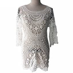 Bestyou® Women\'s Floral Lace Crochet Cover up Tunic Beachwear Tops Shirts XS-M (White...)