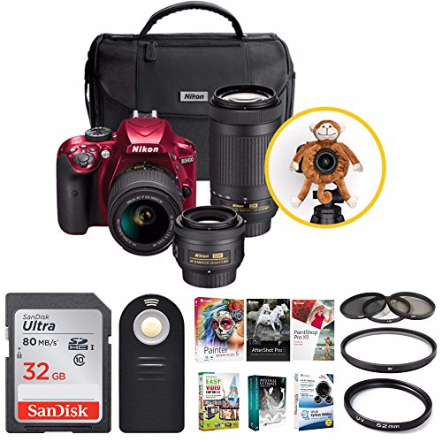 Nikon D3400 Triple Lens Parent's DSLR Camera Kit + 32GB Card + Great Savings Holiday Bundle