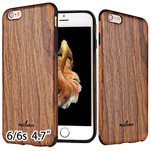 NeWisdom iPhone 6 6S Case Wood Non Slip Thin Slim Unique Designed Cover - Sandal