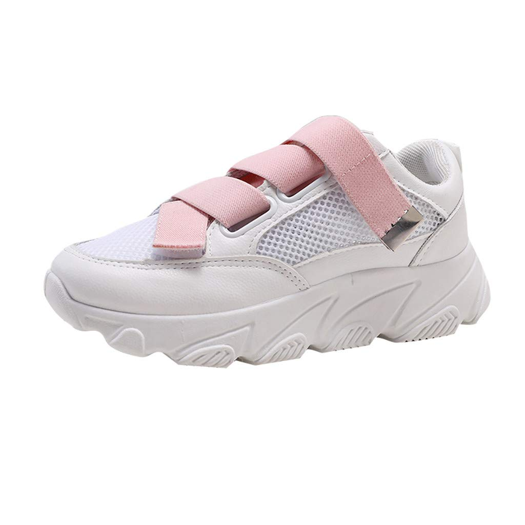 Women Walking Shoes Mesh Lightweight Casual Sports Slip on Gym Jogging Tennis Running Sneakers (US:5.5, Pink)