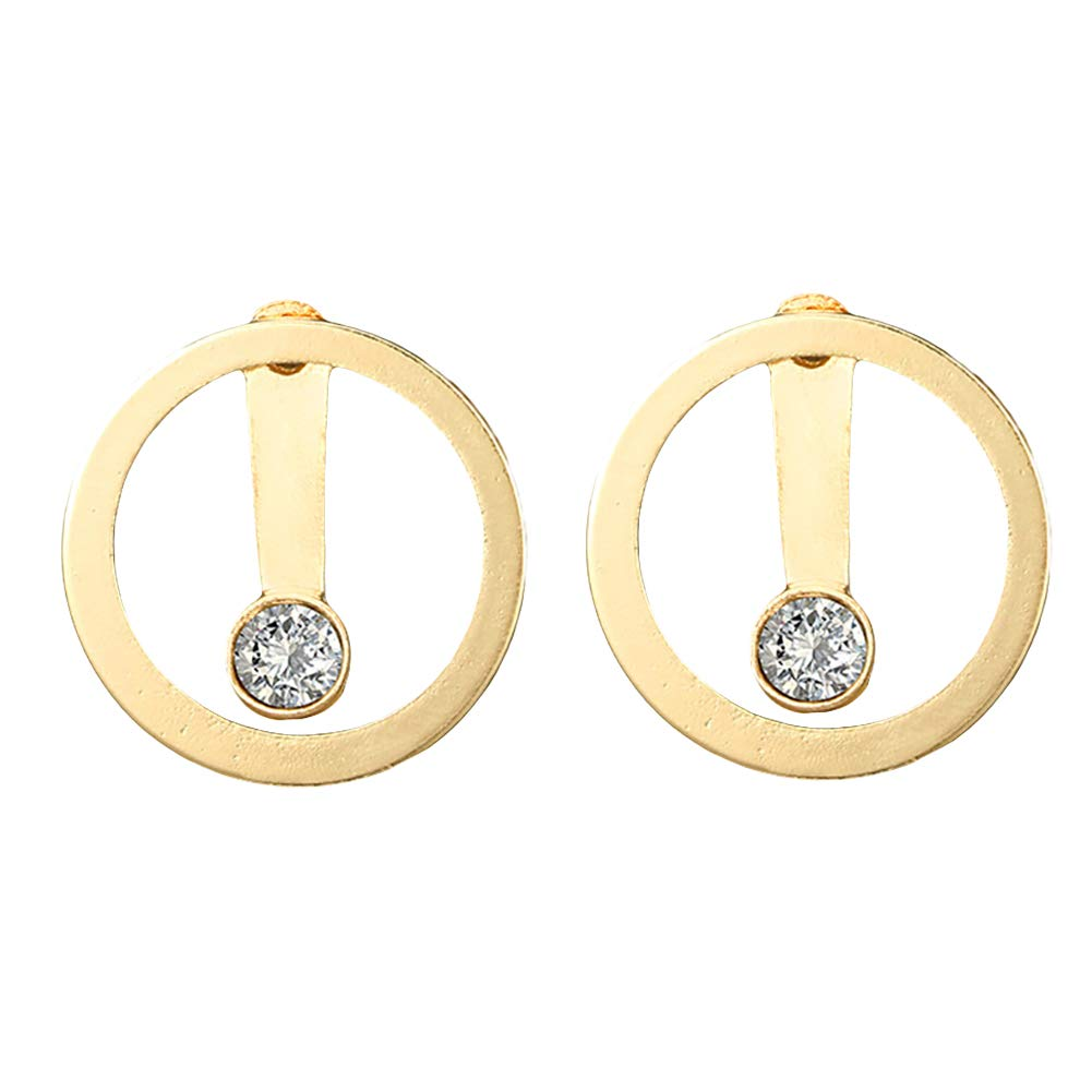 Fashion Hollow Circle Rhinestone Double Sided Women Ear Stud Earrings Jewelry - Golden