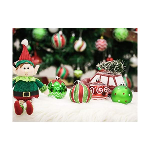 Victor's Workshop Addobbi Natalizi 16 Pezzi 8cm Palle di Natale, Delightful Elf Red Green And White Infrangibile Palla di Natale Ornamenti Decorazione per la Decorazione Dell'Albero di Natale 6 spesavip