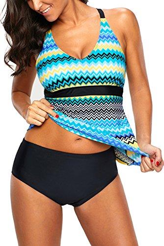 Uniarmoire Two Piece Tankini Set Wave Swimsuits for Women Green 2XL