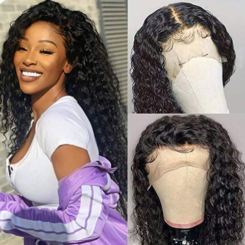 UNice 13x6 Deep Wave Lace Front Human Hair Wigs, Brazilian Unprocessed Virgin Human Hair Deep Part Lace Frontal Wig 150% Density Pre Plucked with Baby Hair Natural Color (22 Inch)