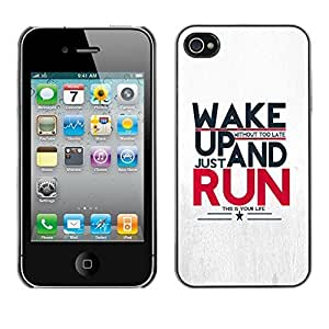 Soft Silicone Rubber Case Hard Cover Protective Accessory Compatible with Apple iPhone? 4 & 4S - run running sports motivational