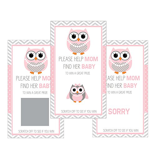 Set of 12 Scratch Off Game Cards for Baby Shower Games with Owl in Pink SC102 ()