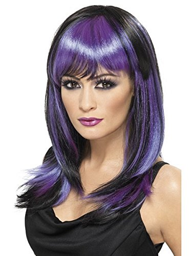 [Smiffy's Glamour Witch Wig Costume, Black/Purple, One Size] (Glamour Witch)