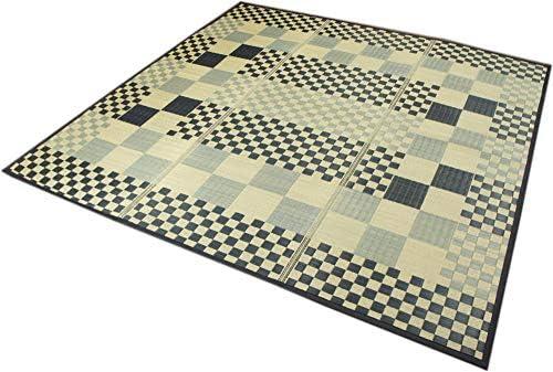 い草ラグ シンプルなデザインのブロック柄 -BLOCK- 180x240cm(3畳用) /コンパクト収納/裏貼加工/