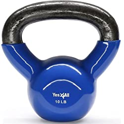 Yes4All Vinyl Coated Kettlebell Weights Set - Great for Full Body Workout and Strength Training - Vinyl Kettlebell 10 lbs