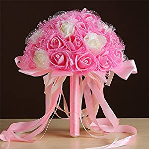 Fashionclubs Wedding Bridal Bridalsmaid Ribbon Rose Bouquet Artificial Foam Rose Flower Bouquet 63