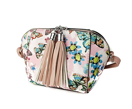 x Pink 18 Butterfly 5cm 8cm 5cm Floral Bag Print Women's Shoulder Redfox x 12 Purse Tassel Mini BzxaSP