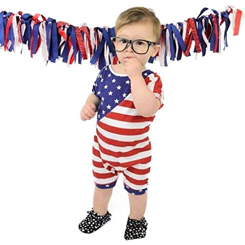 Minisoya Toddler Baby Boys Girls Kids Casual Stars Striped Overalls Rompers Jumpsuit Playsuit 4th of July Outfit (Red, (4th Of July Pajamas)