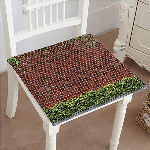 Mikihome Chair Pad Soft Seat Cushion Rustic Brick Wall with Creeper Plants and Leafs Tile Red Green White Expandable Polyethylene Stuffed Machine Washable 22