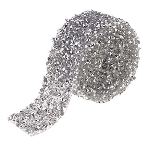 Prettyia 1 Yard AB Crystal Rhinestone Beaded Trim Applique Iron on Bridal Costume 1.18 inch Width - ()