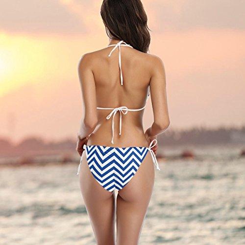 de Chevron de dos piezas con o blanco traje multicolor de ba azul mujer Alaza Bikini wPWqTxZBvn