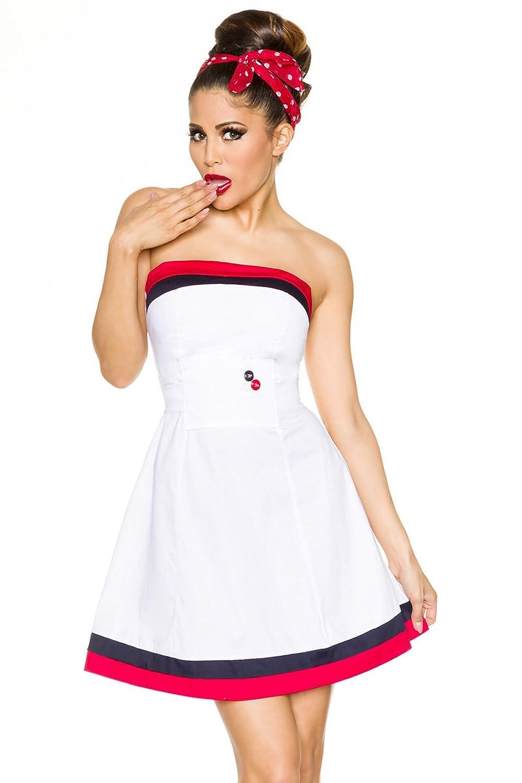Marinekleid im Retro Style mit Gürtel Sommer Cocktailkleid in weiß ...