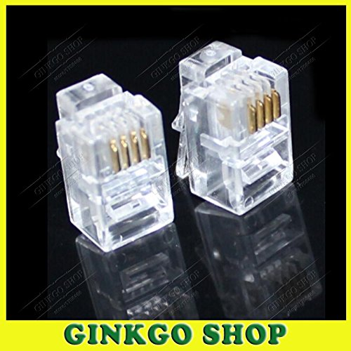 Handset Modular Plug - Gimax 100pcs/lot Crystal RJ12 4P4C Modular Plug Handset Adapter Telephone Connector for Receiver Joint