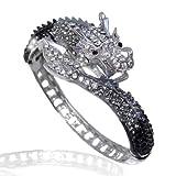 EVER FAITH Women's Austrian Crystal Cool Animal Fly Dragon Bangle Bracelet Silver-Tone