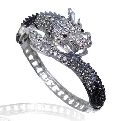 EVER FAITH Women's Austrian Crystal Cool Animal Fly Dragon Bangle Bracelet Black Silver-Tone]()
