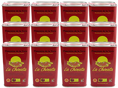 La Chinata Pimenton de la Vera Dulce DOP (Sweet Smoked Spanish Paprika Powder) Food Service Size (Case of 12 Tins) by La Chinata