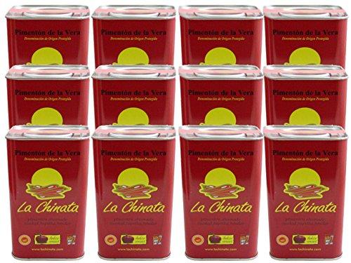 La Chinata Pimenton de la Vera Dulce DOP (Sweet Smoked Spanish Paprika Powder) Food Service Size (Case of 12 Tins) by La Chinata