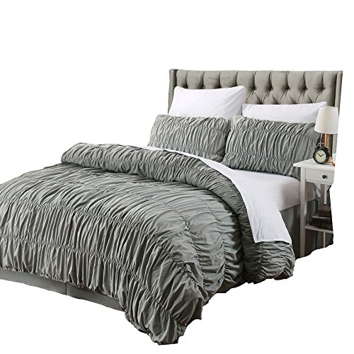 AMOR & AMORE 3 Pcs Ruffled Duvet Cover Set Grey Shabby Chic Ruched Bedroom Decor … (Queen Size)