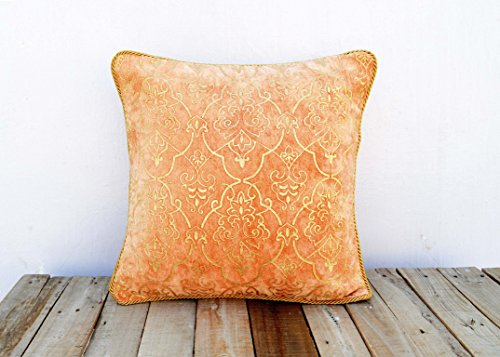 Gold Foil Printed Stone Washed Cotton Velvet Pillow Cover Damask Rust Color Twisted Chord Edging Bohemian Standard Size (18X18) (Washed Velvet Pillow Cover)