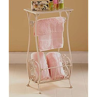 White Metal Bathroom Table Stand Toilet Paper Holder Bar Towel Magazine Rack Shabby Chic Decor
