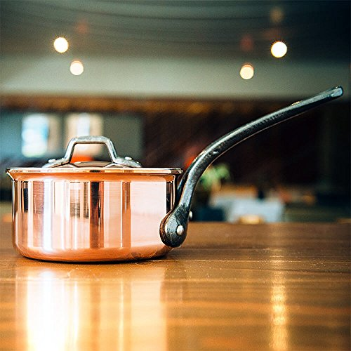 Matfer Bourgeat 360124 Copper Sauce Pan With Lid 9 .5 in.