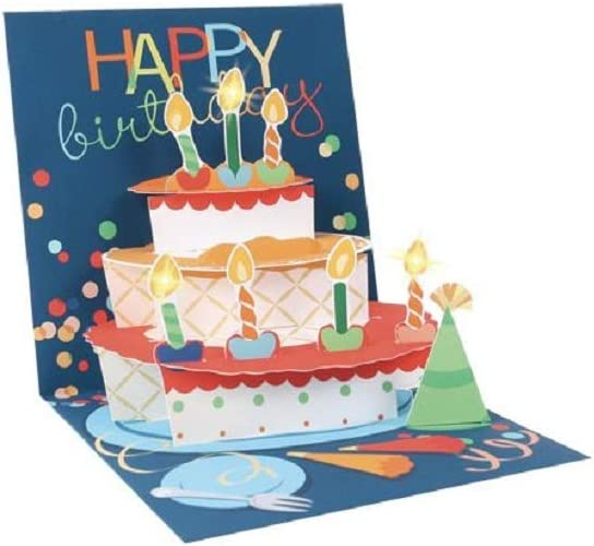 Birthday Cake Light-up 3D Pop-up Card by Up With Paper