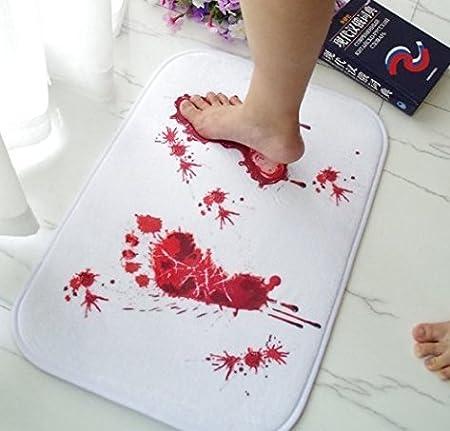 Blood Bath Mat Footprints Rugs Towel Bath Floor Mat Bloody Horror New Q8N5