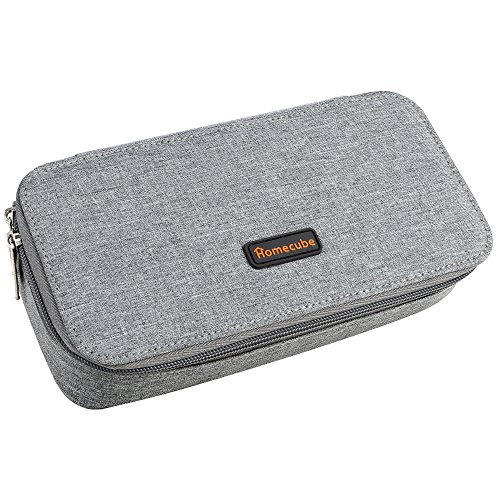 Homecube Pencil Case, Big Capacity Pen Case Desk Organizer with Zipper for School & Office Supplies - 8.74x4.3x2.17 inches, Gray