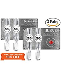 Shoe laces Elastic - No Tie Shoelaces Best Lock Shoelaces-2 Pairs/Pack - for Elderly, Adult and Kids - Available in Reflective White, Black or Black & White in a Value Pack - Running, Climbing, Durable with No Tie Elastic System, Ideal for Sneakers and Boots
