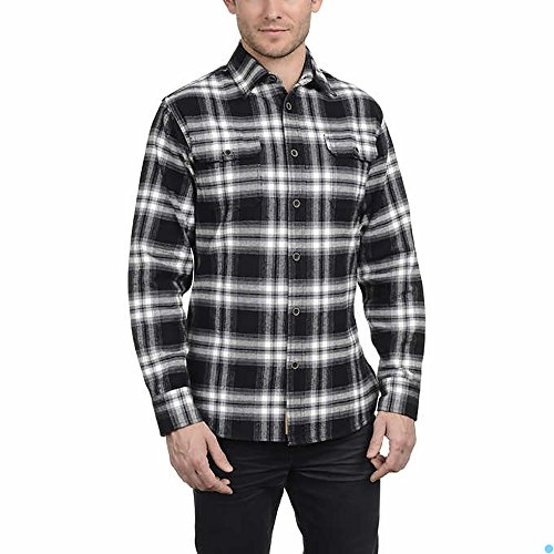 Shirt Brawny Flannel - Jachs Men's Brawny Flannel Shirt (Black/Grey/White, Medium)