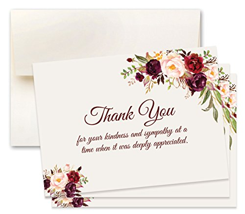 15 Sympathy Acknowledgement Cards, Includes Envelopes