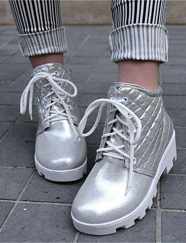 Eu36 Y Eu39 Uk4 Zapatos Punta Casual Cerrada 5 Cn40 5 Trabajo Mujer us8 Silver Vestido Botas Xzz Semicuero Oficina Dividida Silver Cn36 Uk6 negro Redonda Suela us6 De 4FwHv