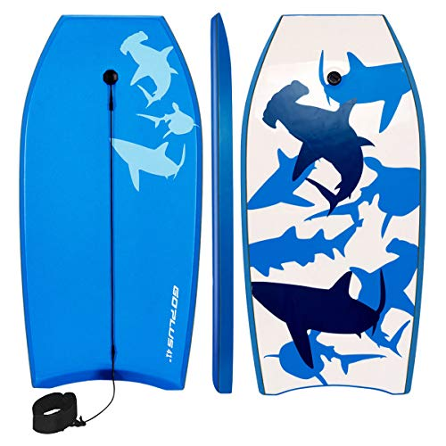 Goplus 41 inch Super Bodyboard Body Board EPS Core, IXPE Deck, HDPE Slick Bottom with Leash, Light Weight Perfect…