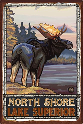 North Shore Minnesota Lake Superior Moose Rustic Metal Art Print by Paul A. Lanquist (24