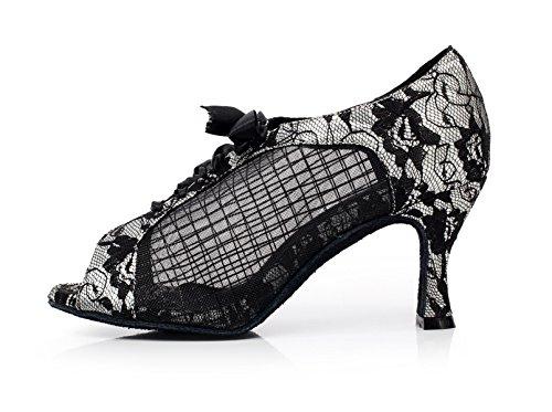 JSHOE Dentelle Imprimée Maille Chaussures De Danse Latine Salsa/Tango/Thé/Samba/Moderne/Chaussures De Jazz Sandales Talons Hauts,Silver-heeled8.5cm-UK4/EU35/Our36